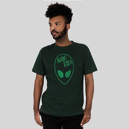 Camiseta Action Clothing Aliens Exist Musgo