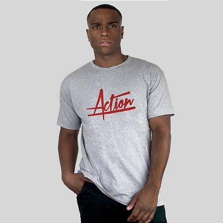 Camiseta Action Clothing Script Cinza Mescla
