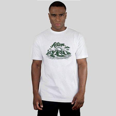 Camiseta Action Clothing Mountais Branca