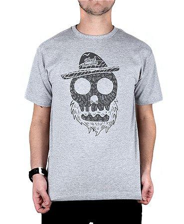 Camiseta Bleed American Beard Skull Cinza Mescla