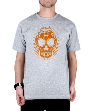 Camiseta Bleed American Sugar Skull Cinza Mescla