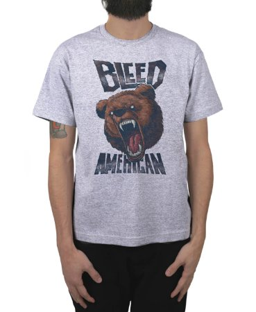 Camiseta Bleed American Killer Bear Cinza Mescla