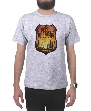 Camiseta Bleed American Route 66 Cinza Mescla