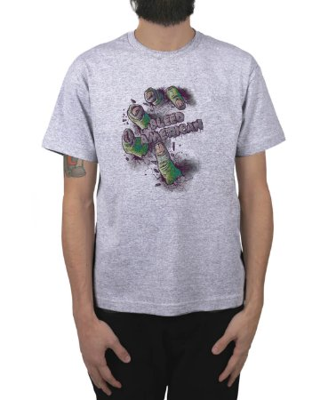Camiseta Bleed American Zombie Cinza Mescla