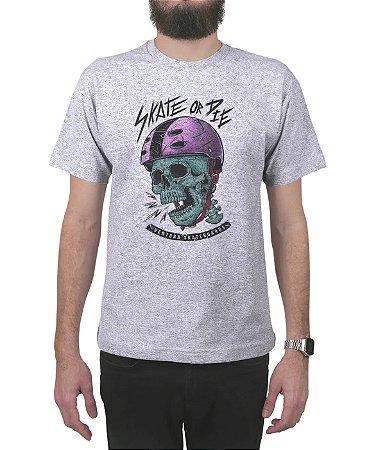 Camiseta Ventura Skate Or Die Cinza Mescla