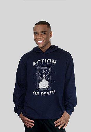 Blusa Action Clothing Action Or Death Azul Marinho