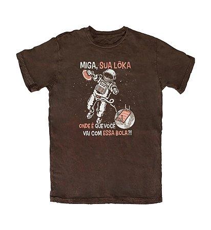 Camiseta Everaldo Marques Miga Sua Lôka Marrom