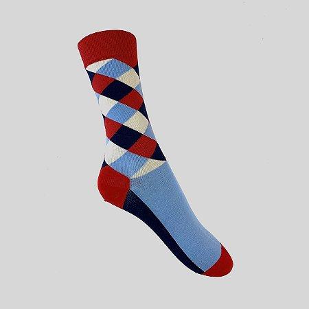 Meia Really Socks Patchwork Vermelho