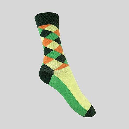 Meia Really Socks Patchwork Verde