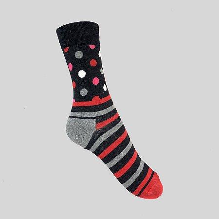 Meia Really Socks Dot Stripe Preto