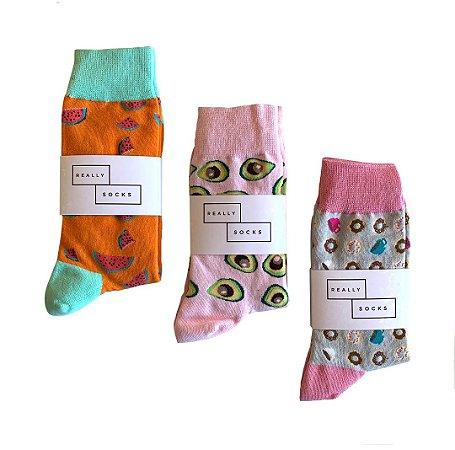 Kit 2 - 3 Meias Really Socks Food