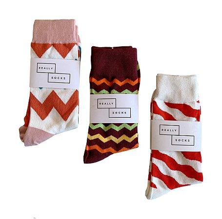 Kit 5 - 3 Meias Really Socks Zig Stripe
