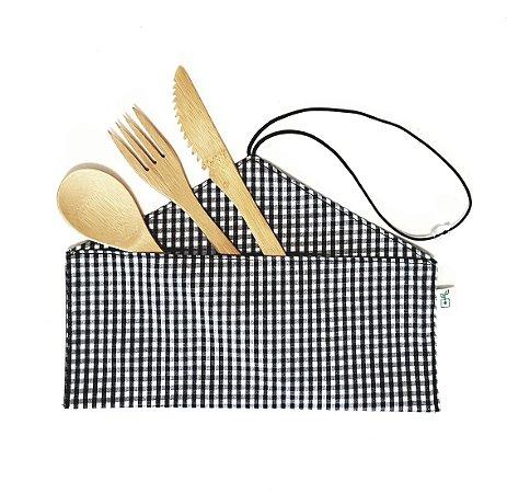 Kit Porta Talheres Slim 100% Algodão + Talheres De Bambu