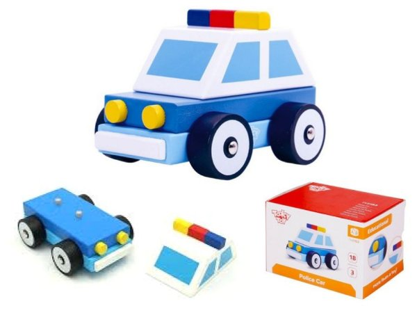 Carrinho de madeira - Carro de polícia desmontável - Tooky Toy