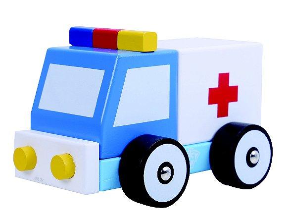 Carrinho de madeira - Ambulância desmontável - Tooky Toy
