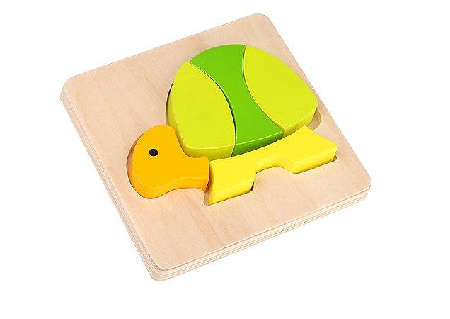 Mini Quebra-Cabeça de Madeira - Tartaruga - Tooky Toy