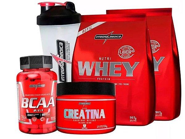 Kit Integral Medica Nutri Whey Protein Refil Bcaa Creatina