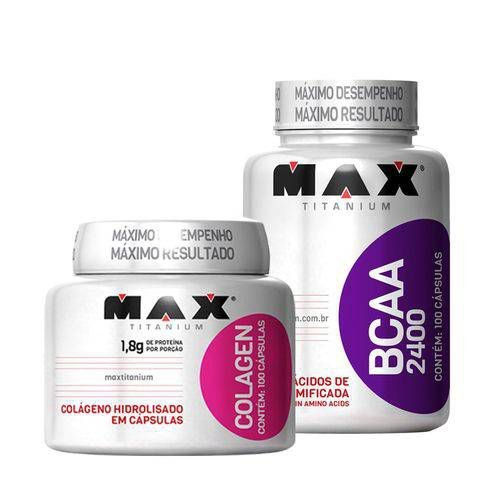Bcaa 100 Capsulas + Colágeno 100 Capsulas - Max Titanium
