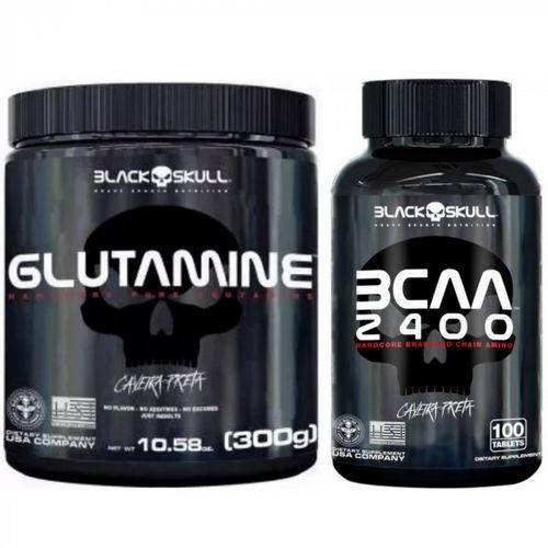 Glutamina (300g) + Bcaa 2400 (100 Tabs) Black Skull