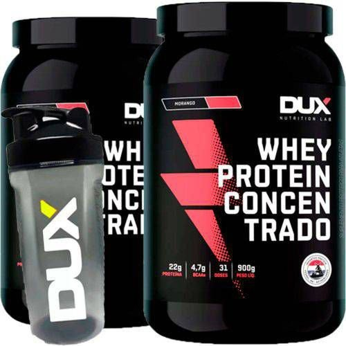 Kit 2x Whey Protein Concentrado 900g + Shaker - Dux Nutrition