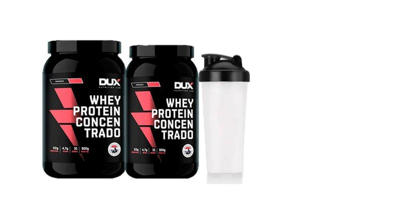 Kit 2x Whey Protein Concentrado 900g + Shaker - Dux