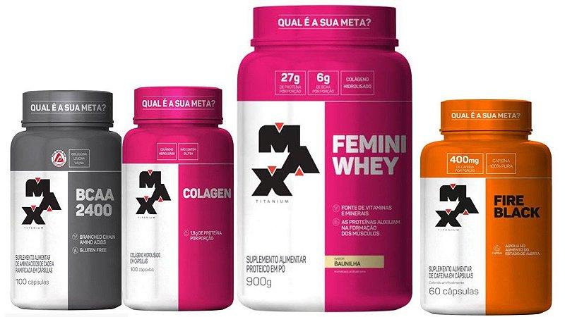 Kit Feminino Femini Whey+Colágeno+Bcaa+Cafeína -MAX TITANIUM