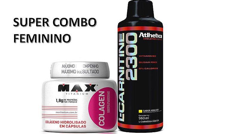 Combo Feminino Colágeno + L Carnitina 2300 960ml Atlhetica