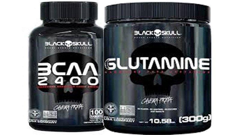 Glutamina 300g + Bcaa 100 Tabletes Black Skull