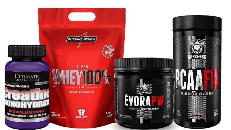 WHEY PROTEIN 100% + BCAA FIX 400 + EVORA 300G + CREATINA