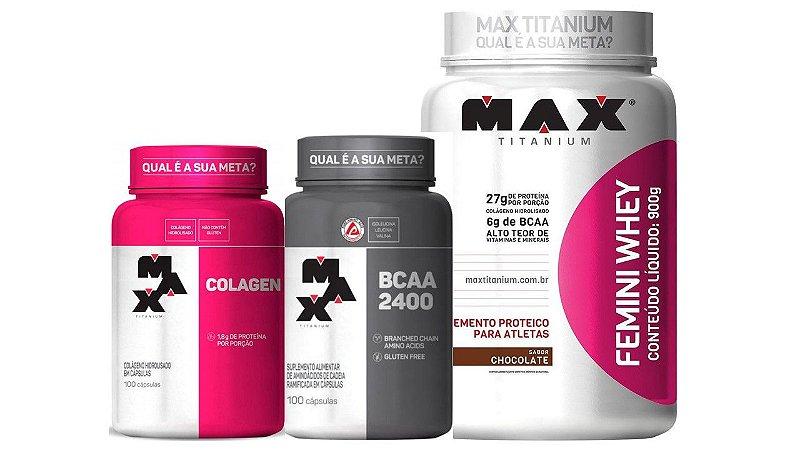 Kit Feminino Femini Whey 900g + Colageno + Bcaa Max Titanium