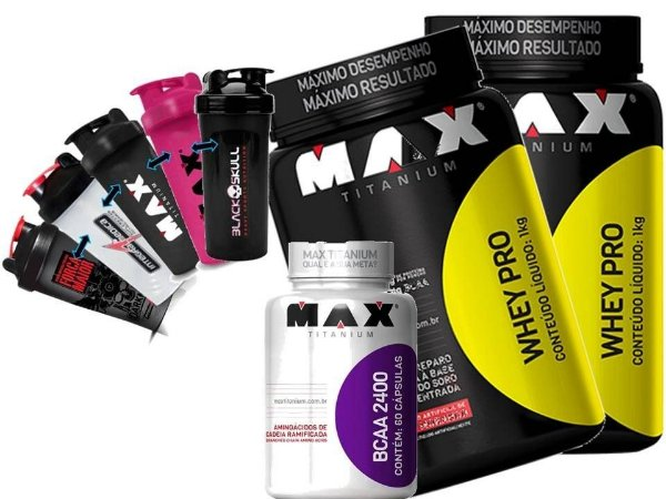 Combo 2 Whey Pro + Bcaa + Coqueteleira - Max Titanium