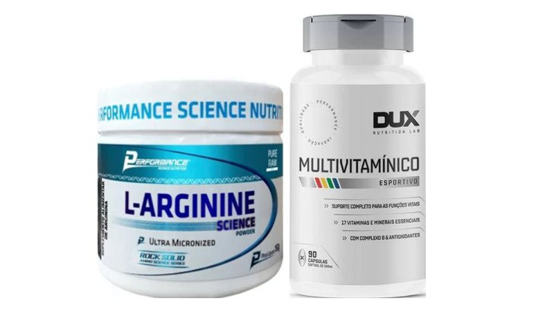 Kit recuperação muscular Arginina 150g + multivitaminico 90