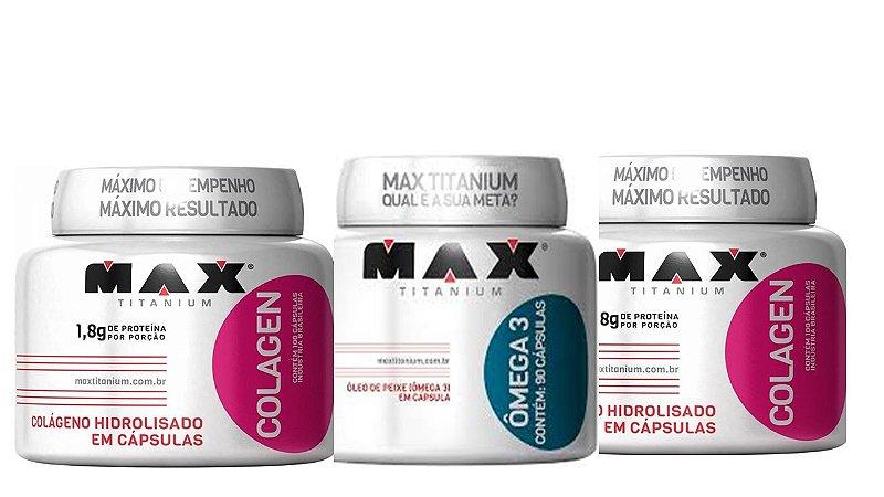 Combo 2 x collageno 100 cap. + omega 3 90cap max titanium