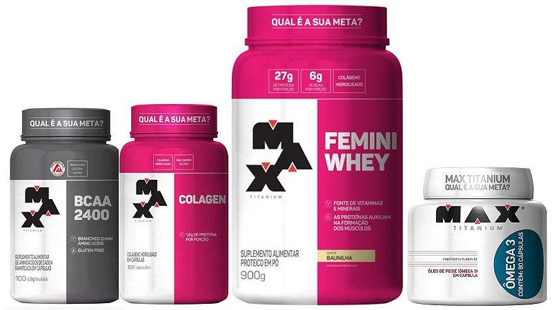 Kit Femini Whey 900g+Colágeno 100 Cap+BCAA 100 Cap+Omega 3