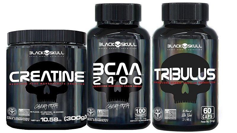 kit 1x tribulus 60 cap + 1bcaa 100+creatina 300g black skull