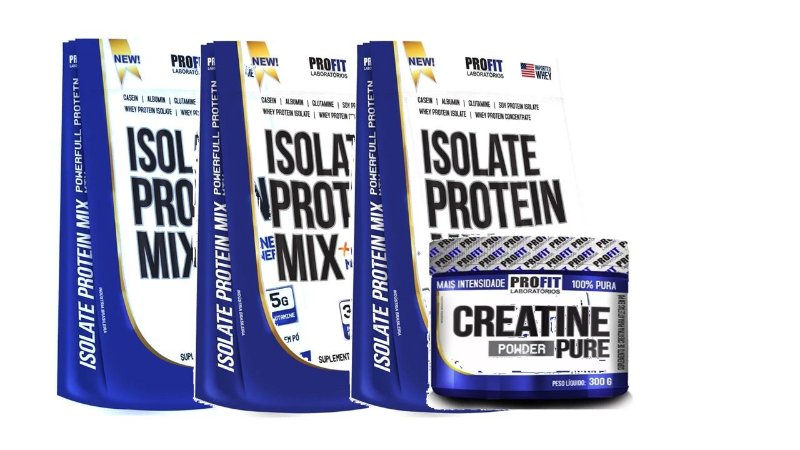 Kit 3x Whey Isolate Protein Mix Profit 1.8kg + Creatina 300g