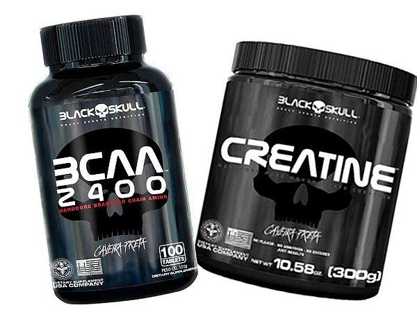 Creatina 300g Black Skull + Bcaa 2400 100 Caps - Caveira