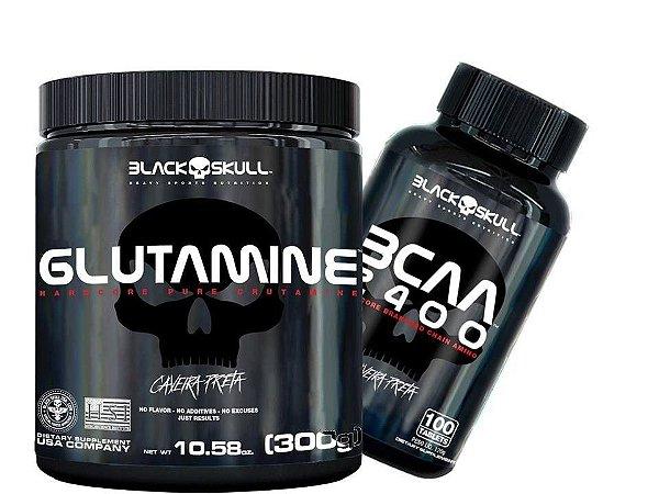 Glutamine - Caveira Preta 300g  + Bcaa 100 Tab - Blackskull