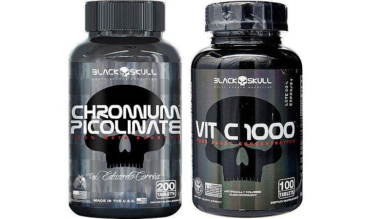 Combo Energia Chromium 200 tab+Vita c 100 tab.Black skull