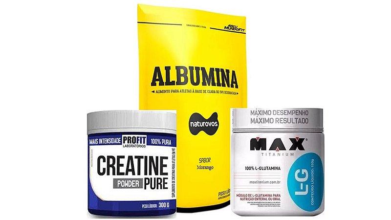 Combo Albumina + Creatina 300 profit + Glutamina 300 max tit