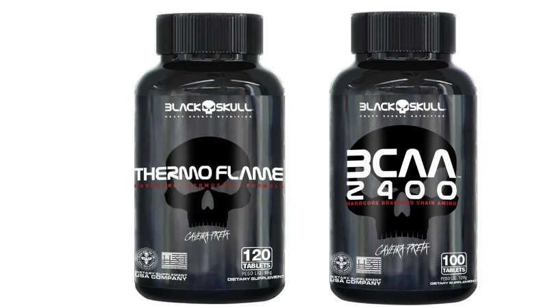 kit seca gordura bcaa 100 tab.+thermo flame 120cps Black Skull