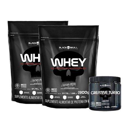 Kit 2X Whey Protein 900g Refil+ Creatina turbo 150g Black Skull