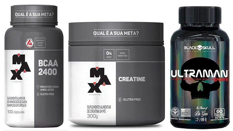 Creatina 300g + BCAA 2400 100 capsulas + Ultraman Polivitamínico 60 Tabletes