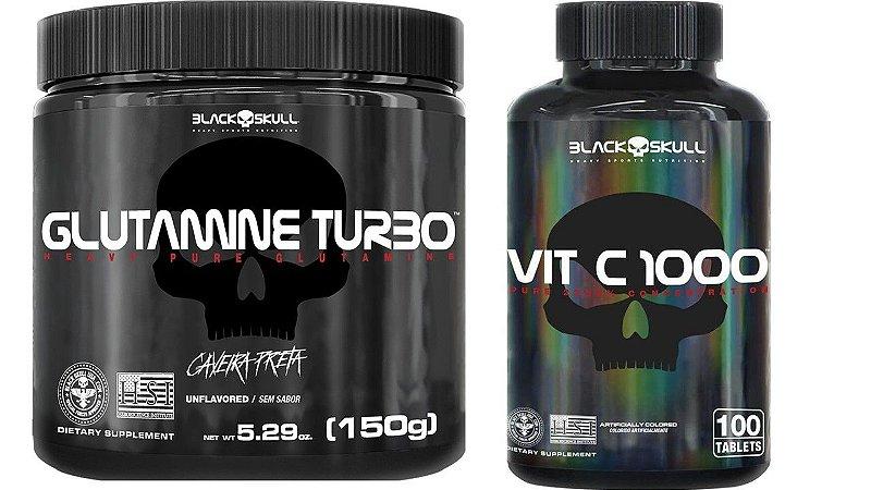 Glutamina Turbo 150G Black Skull + Vitamina C 100 Capsulas Black Skull