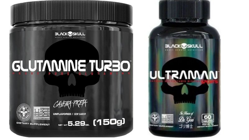 Glutamina Turbo 150g + Ultraman Polivitamínico - 60 Tabletes Black Skull