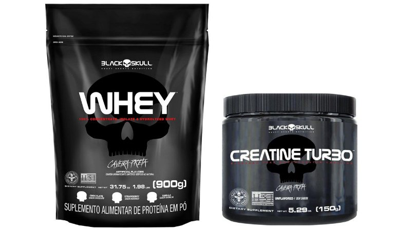 Whey Protein 900g refil + Creatina Turbo 150g Black Skull