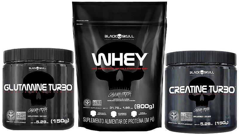 Whey Protein 900g refil + Creatina Turbo 150g + Glutamina Turbo 150g Black Skull