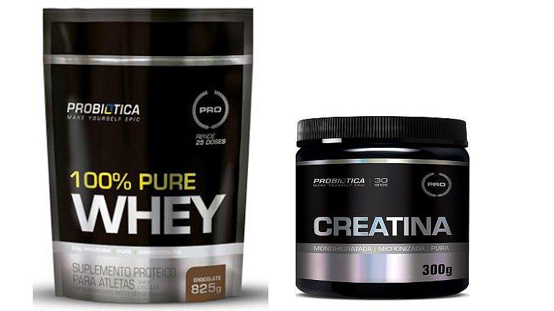 Whey 100% 825g Refil + Creatina 300g Probiótica