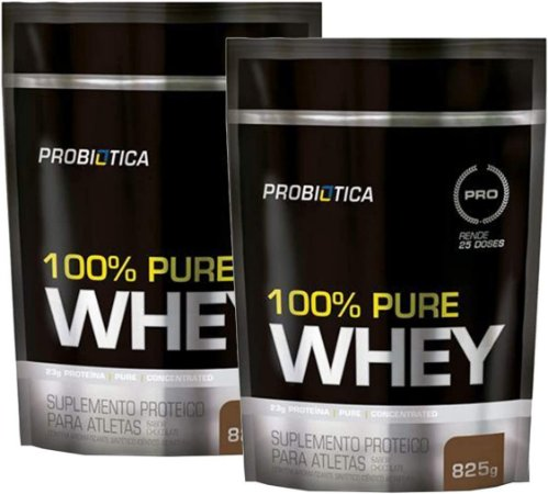 Kit 2x 100% Pure Whey Protein 825g Refil probiotica
