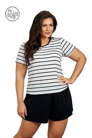 Pijama com Manda Curta Plus Size Mondress